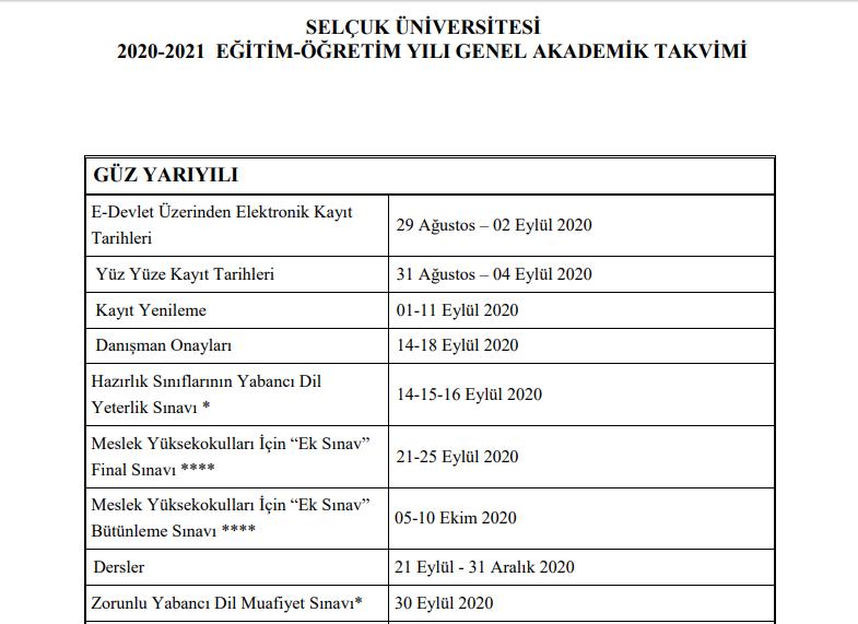 Selçuk Üniversitesi Akademik Takvim Açıklandı! 2020 - 2021