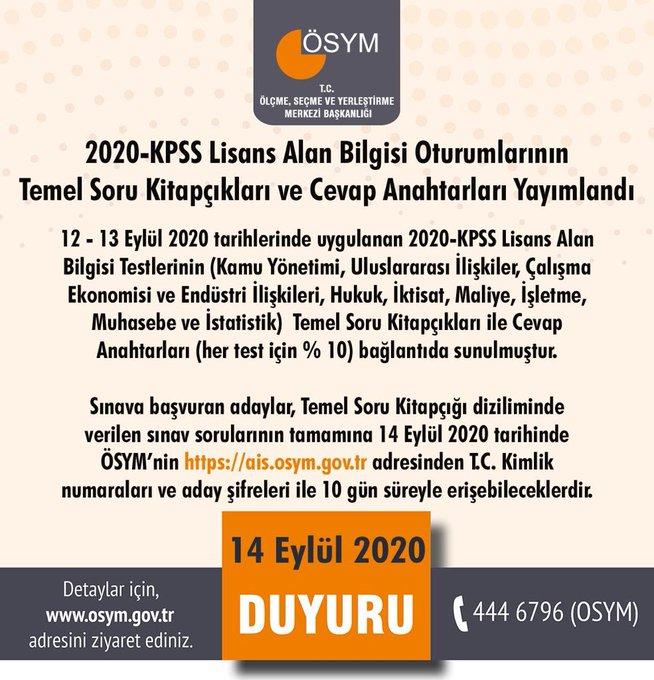 2020 KPSS Lisans Sorularının Cevapları Yayınlandı!