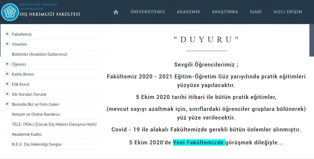 Necmettin Erbakan Üniversitesi Diş Hekimliği Fakültesi Yüz Yüze Eğitim Yapacağını Duyurdu!