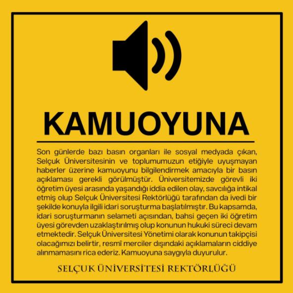 Selçuk Üniversitesi Taciz İddiası Üzerine Resmi Açıklama Yaptı
