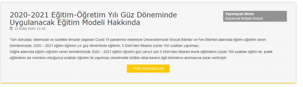 Selçuk Üniversitesi Uzaktan Eğitim Güz Dönemi Modelini Açıkladı