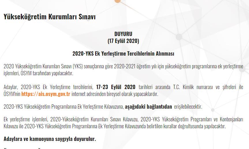 YKS 2020 Ek Yerleştirme Kılavuzu ÖSYM Tarafından Yayınlandı